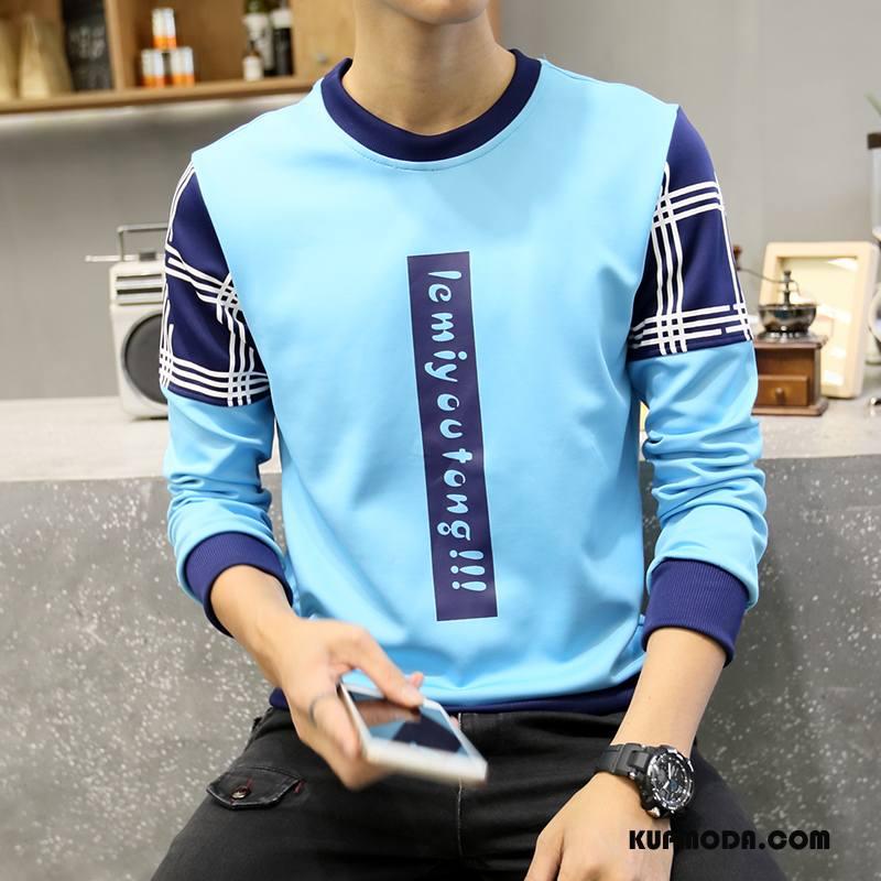 Bluza Z Kapturem Męskie Pullover Osobowość Nowy Męska Topy Długi Rękaw Lazurowy