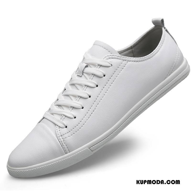 Buty Casualowe Męskie Lato Skórzane Buty Sportowe Duży Rozmiar Młodzież Męska Biały