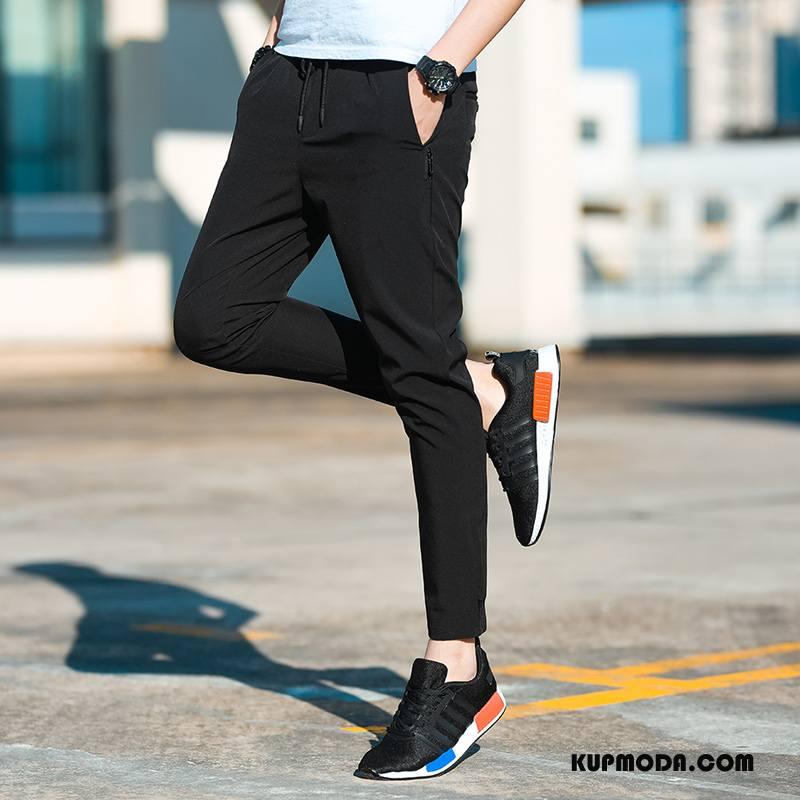 Casualowe Spodnie Męskie Lato Elastyczne Męska Nowy Slim Fit Moda Czarny