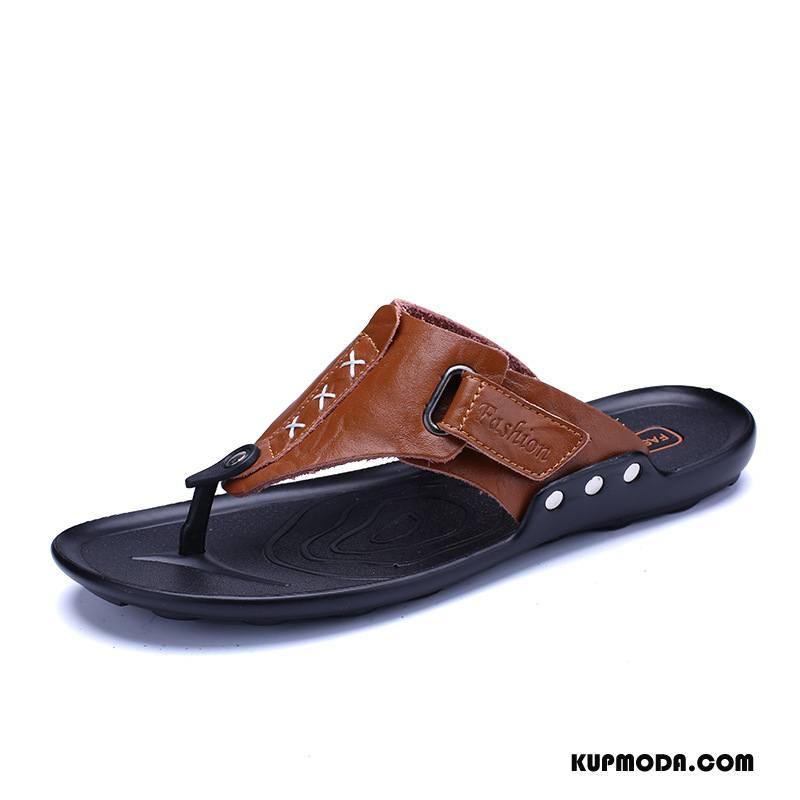 Japonki Męskie Casual Sandały Plażowe Klasyczny Buty Męska Czarny