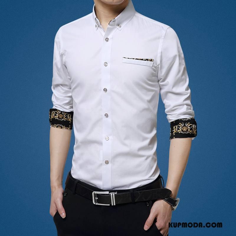 Koszula Męskie Slim Fit Biznes Jesień Męska Brytyjskie Młodzież Jasny Niebieski
