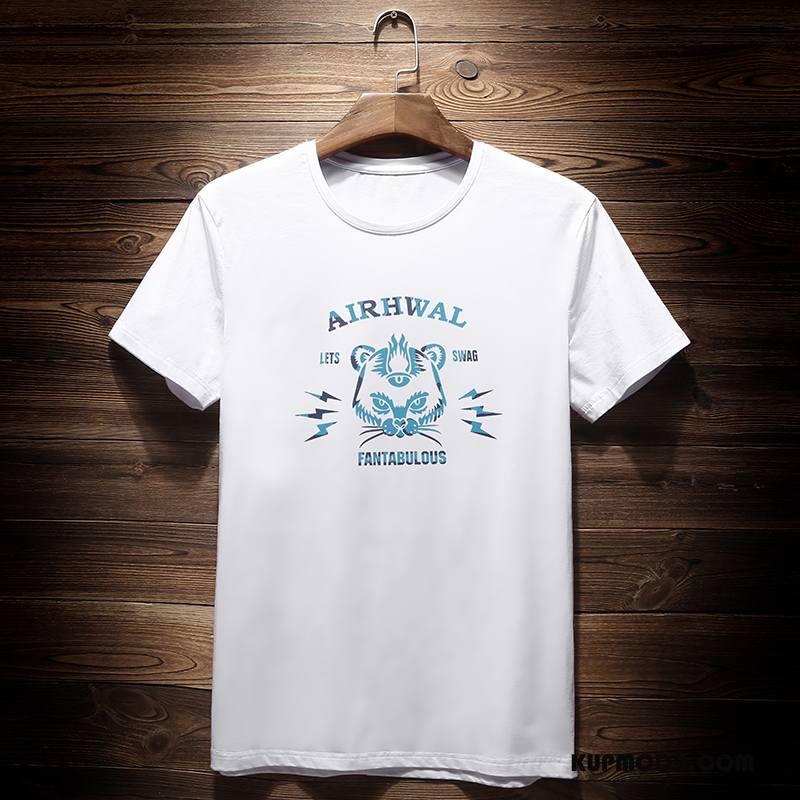 Koszulki Męskie Męska Wiosna Podkoszulek Okrągły Dekolt Tendencja Nowy Biały