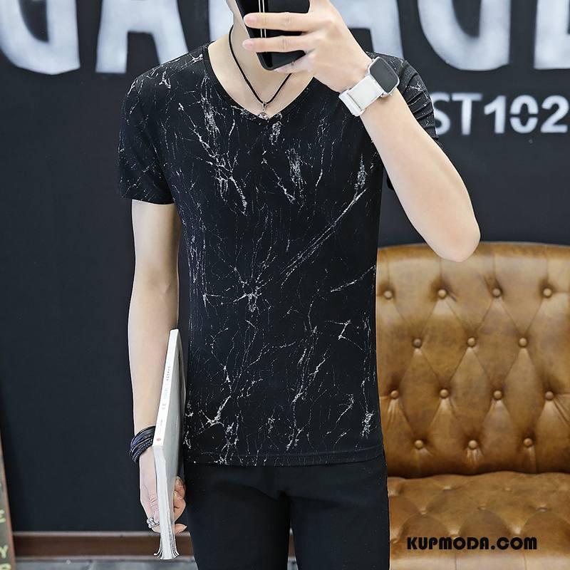 Koszulki Męskie Slim Fit Podkoszulek Krótki Rękaw Topy Męska Tendencja Czysta Biały