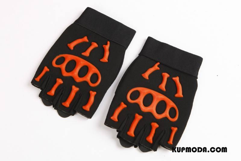 e1b50ee784c86b ... Rękawiczki Męskie Sportowe Fitness Jazdy Antypoślizgowe Czaszka Rower  Fluorescencja Pomarańczowy