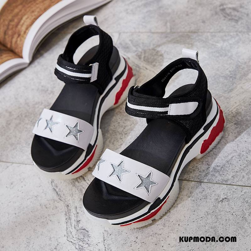 Sandały Damskie Moda Z Grubą Podeszwą Plażowe Płaskie Damska Lato Beżowy Biały