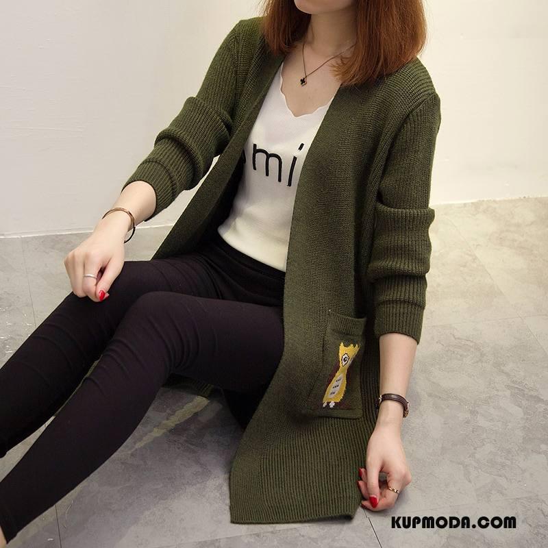 Swetry Damskie Sweter Kardigan Z Dzianiny 2018 Cienkie Długie Eleganckie Zielony