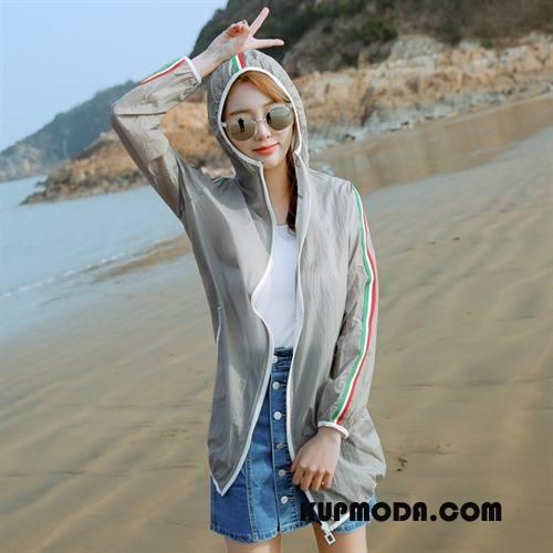 Ubrania Uv Damskie Lato Popularny Slim Fit Moda Proste Sun Odzież Ochrona Szary