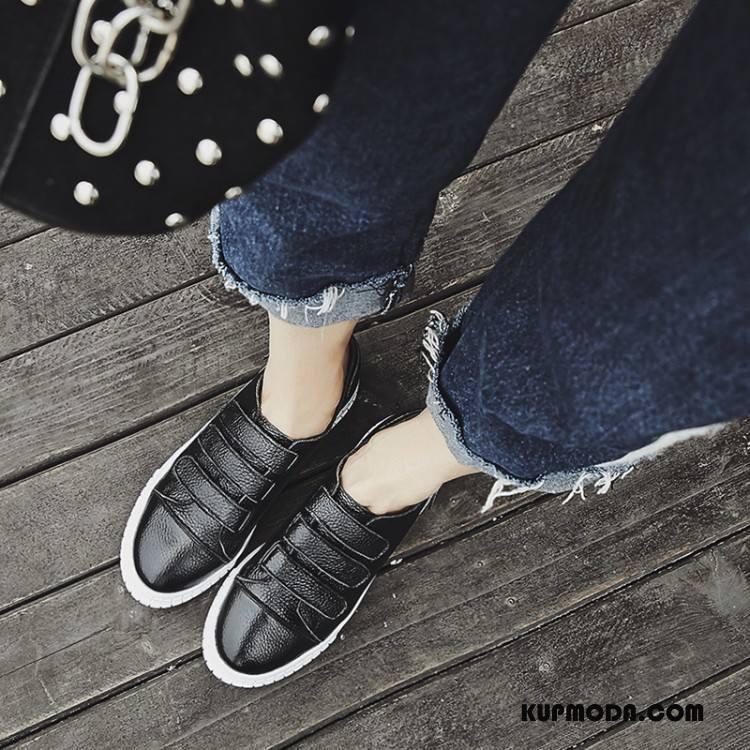 Buty Casualowe Damskie Zima Jesień Buty Na Platformie Moda Wszystko Pasuje Rzepy Biały Czarny