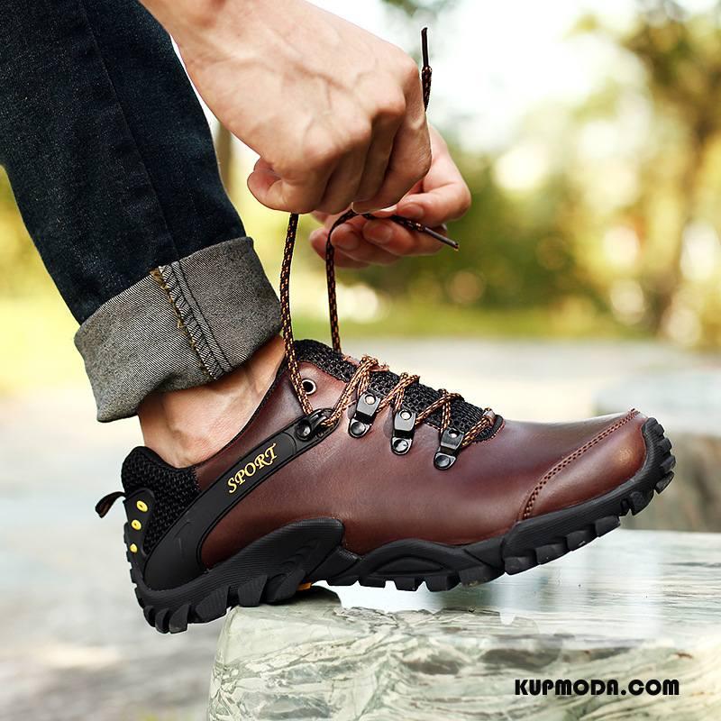 Buty Na Wędrówki Męskie Prawdziwa Skóra Outdoor Męska Jesień Zima Sportowe Brązowy