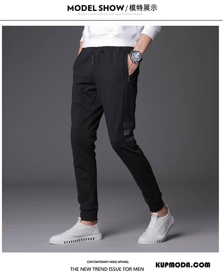 Casualowe Spodnie Męskie Spodnie Dresowe Slim Fit Mały Student Męska Tendencja Czarny