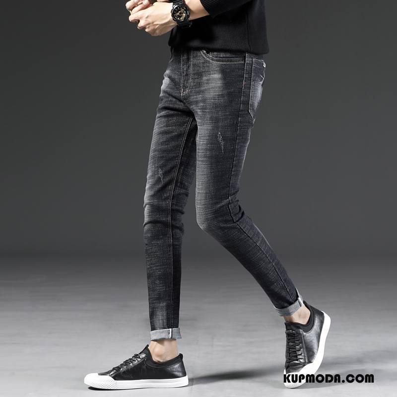 Jeansy Męskie Długie Casual Mały Spodnie Dżinsy Slim Fit