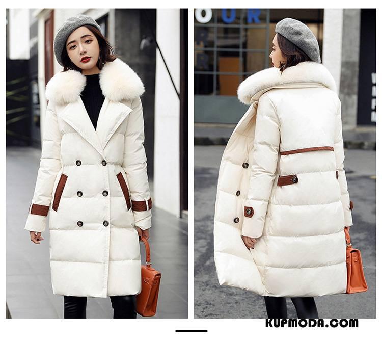 Kurtka Puchowa Damskie Z Kapturem Długie Eleganckie Zima Ciepłe Moda Czysta Beżowy Biały