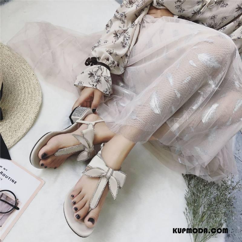 Sandały Damskie Muszka Wszystko Pasuje Lato Z Kryształkami Damska Rhinestone Beżowy