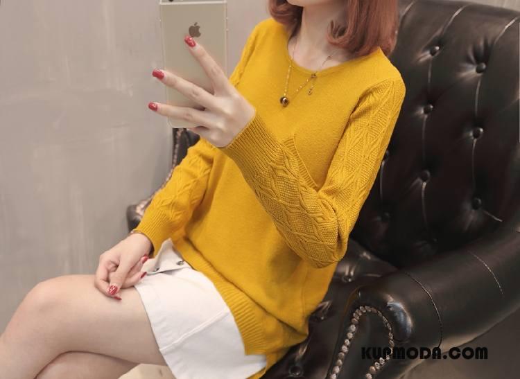 Swetry Damskie Moda Tendencja Długi Rękaw Słodkie Kardigan Z Dzianiny Sweter Żółty