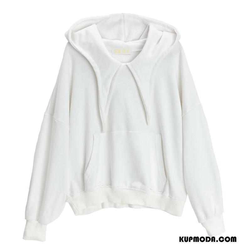 Bluza Z Kapturem Damskie Długi Rękaw Swag Moda Zima Eleganckie Bluzy Z Kapturem Czysta Biały