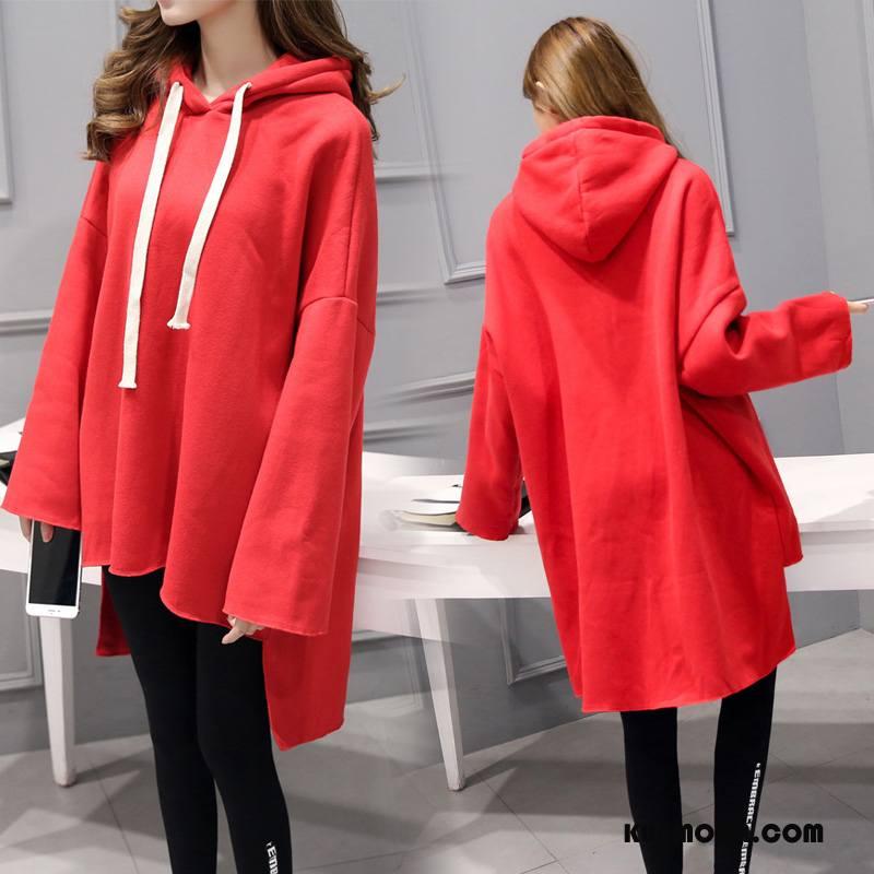 Bluza Z Kapturem Damskie Długie Moda Nieregularne Pullover Długi Rękaw Tendencja Czerwony