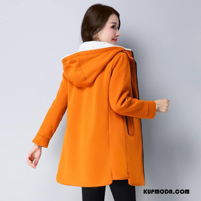 Bluza Z Kapturem Damskie Proste Długi Rękaw 2018 Eleganckie Kardigan Moda Oranż