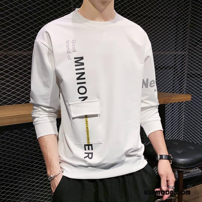 Bluza Z Kapturem Męskie Długi Rękaw Topy Wysoki Nastolatek Student Tendencja Biały