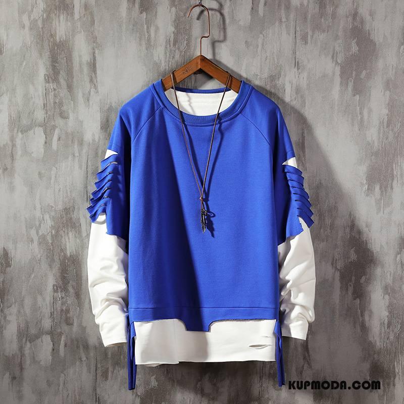 Bluza Z Kapturem Męskie Okrągły Dekolt Długi Rękaw Topy Bluzy Z Kapturem Płaszcz Jesień Niebieski