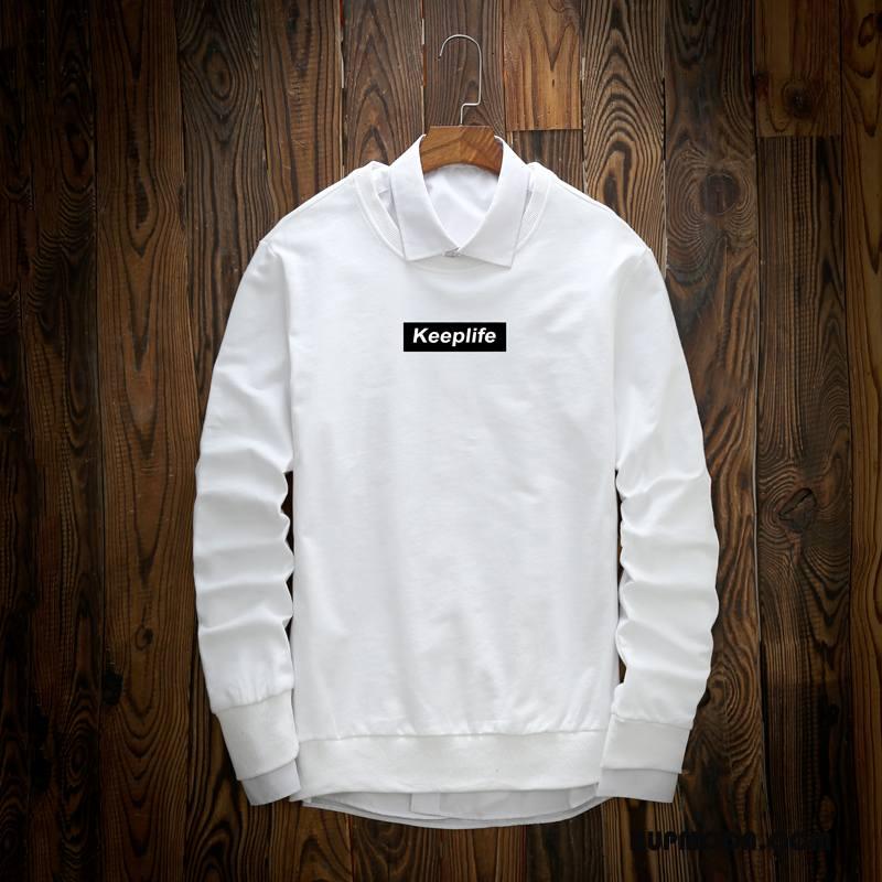 Bluza Z Kapturem Męskie Osobowość Piękny Męska Odzież Wierzchnia Jesień Nastolatek Biały