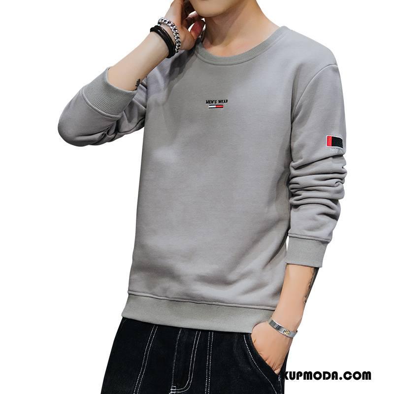 Bluza Z Kapturem Męskie Podkoszulek Slim Fit Student T-shirt Z Długim Rękawem Bluzy Z Kapturem 2018 Szary