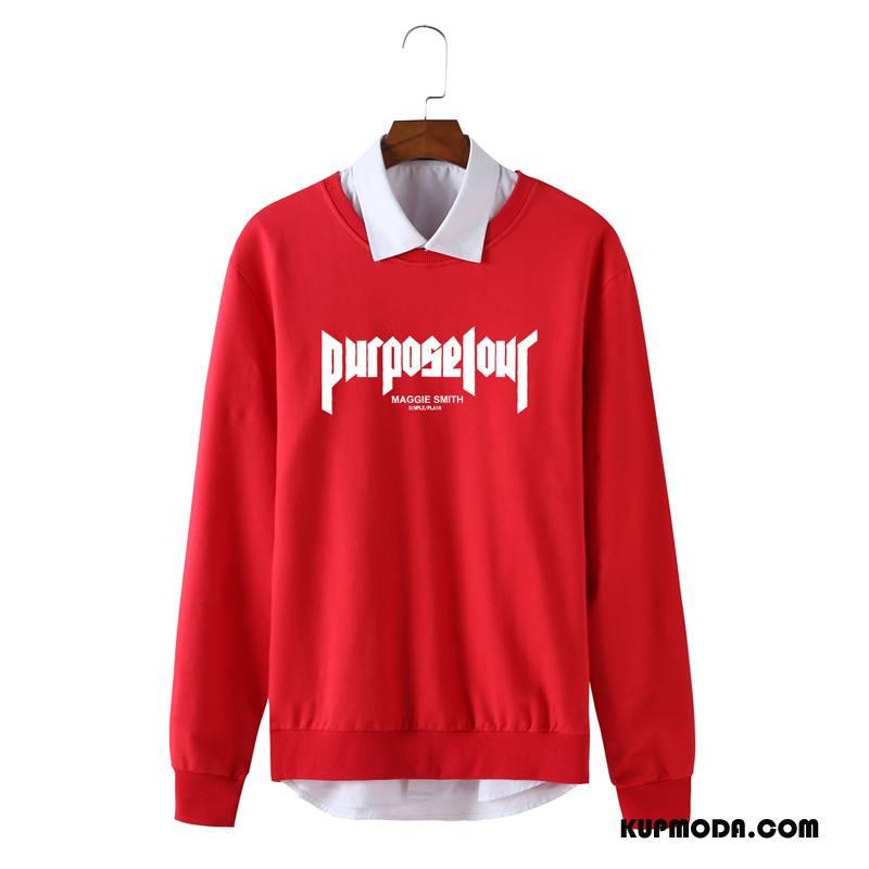 Bluza Z Kapturem Męskie Pullover Sportowe Tendencja Jesień Student Drukowana Czysta Czerwony