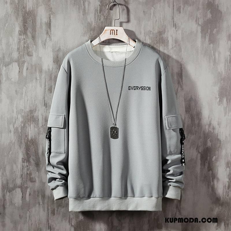 Bluza Z Kapturem Męskie Sportowe Modna Marka Tendencja Okrągły Dekolt Jesień Bluzy Z Kapturem Szary