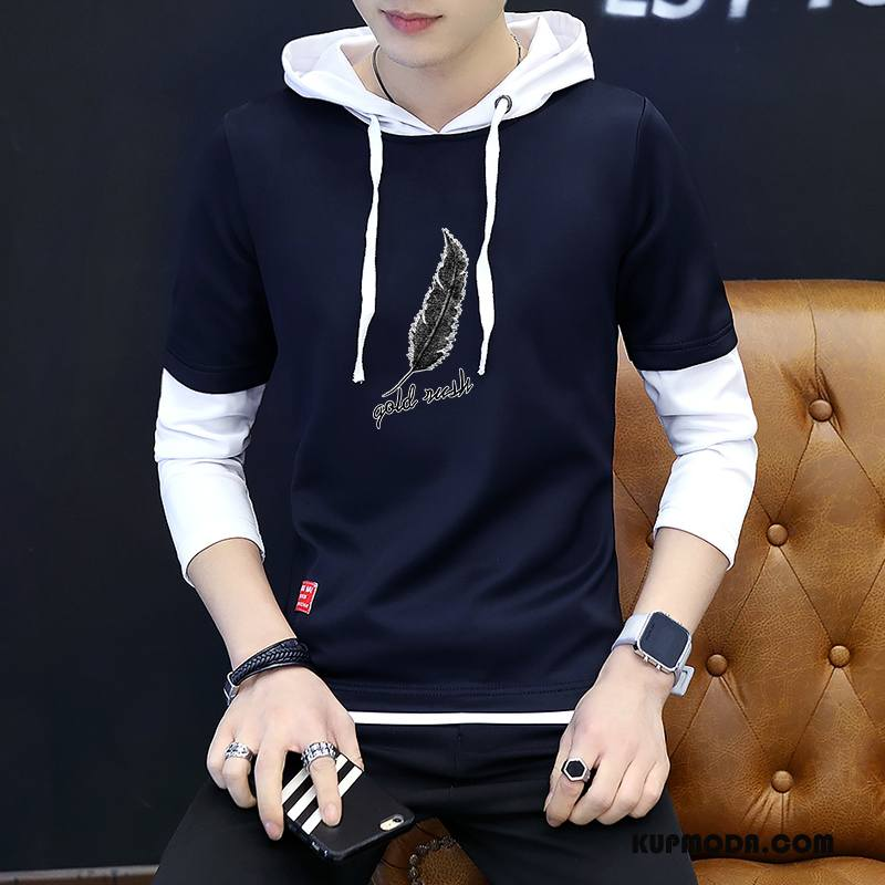 Bluza Z Kapturem Męskie Student Pullover T-shirt Z Długim Rękawem Płaszcz Okrągły Dekolt Nowy Ciemno Niebieski