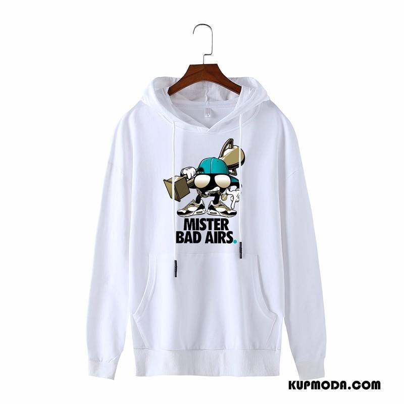 Bluza Z Kapturem Męskie Tendencja Bluzy Z Kapturem Student Cienkie Pullover Wiosna Biały
