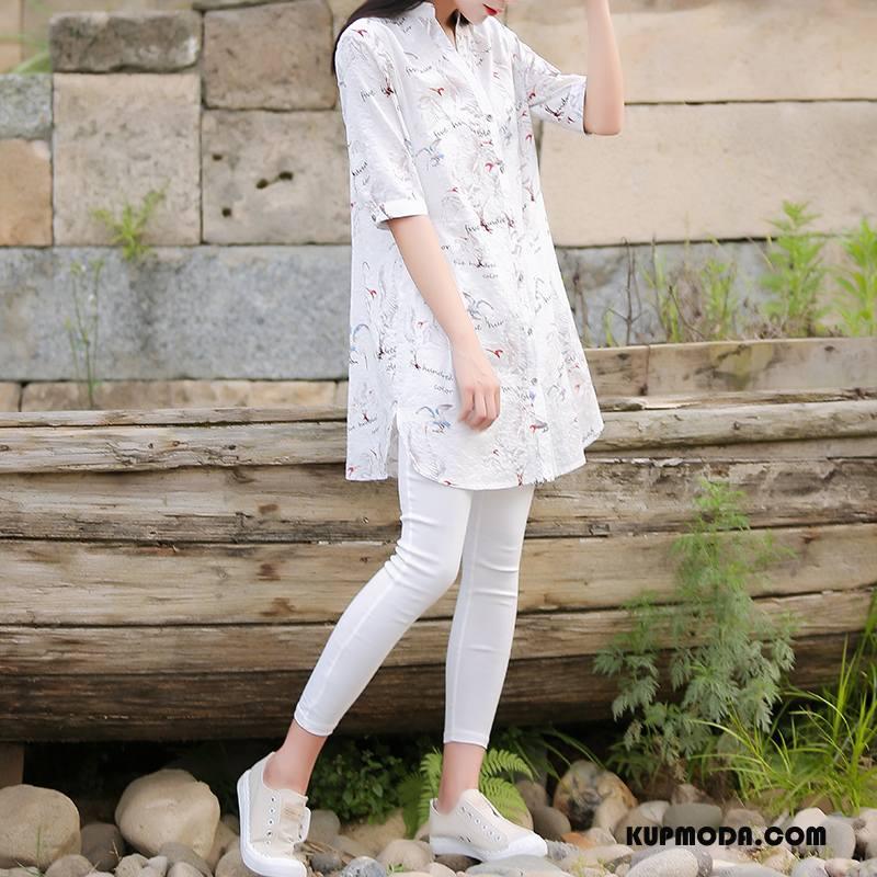 Bluzka Damskie Lato Długie Krótki Rękaw Drukowana Pullover 2018 Biały