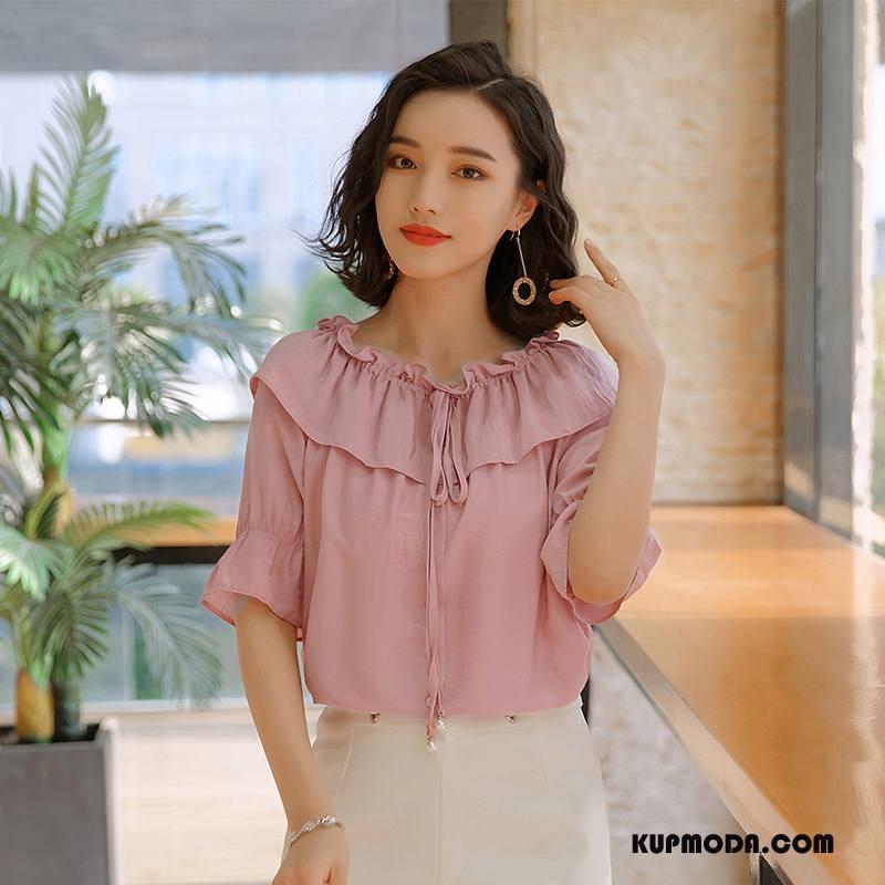 Bluzka Damskie Lato Szyfon Proste Swag Piękny Tendencja Różowy