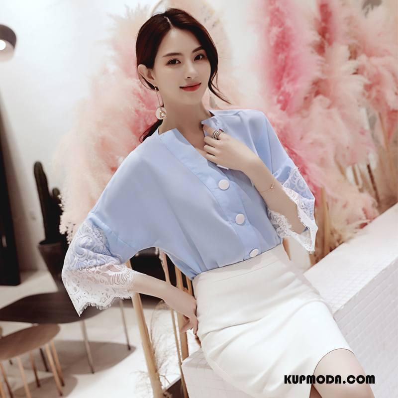Bluzka Damskie Moda Lato Koronkowe Casual Tendencja Koronka Czysta Niebieski