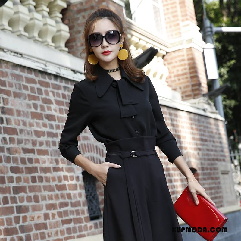 Bluzka Damskie Piękny Wiosna Moda Tendencja Swag Slim Fit Czarny