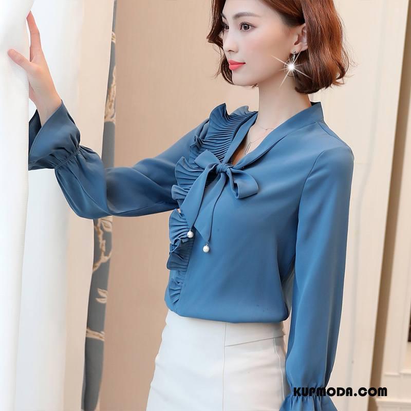 Bluzka Damskie Szyfon Koronkowe Długi Rękaw Eleganckie Jesień Pullover Ciemno Niebieski Czysta
