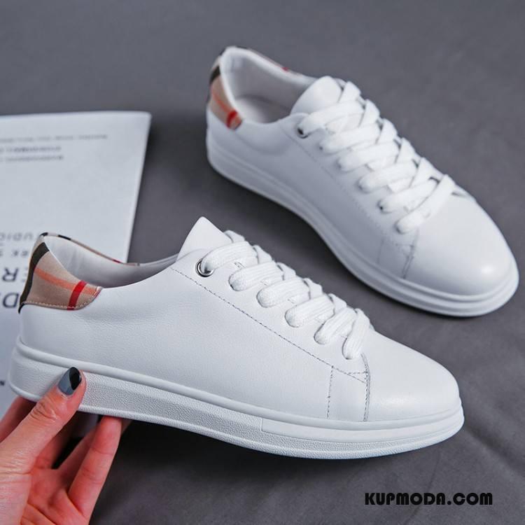 Buty Casualowe Damskie Płaskie Lato Damska Pojedyncze Buty Prawdziwa Skóra 2018 Mieszane Kolory Biały