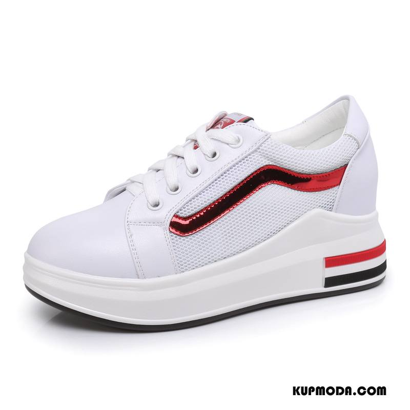 Buty Casualowe Damskie Siatkowe Moda Tendencja Koronka Sportowe Winda Biały Czerwony