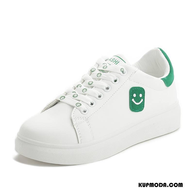 Buty Casualowe Damskie Smile Buty Na Deskorolke Płaskie Wygodne Damska Sznurowane Biały Zielony