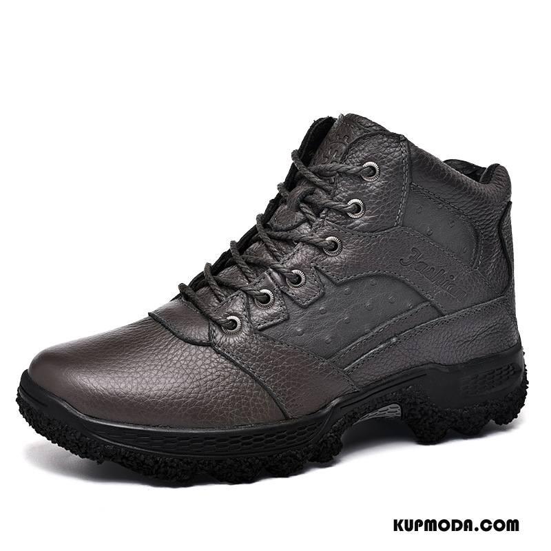 Buty Na Wędrówki Męskie Amortyzujące Antypoślizgowe Zima Casual Skóra Bydlęca Trekkingowe Szary