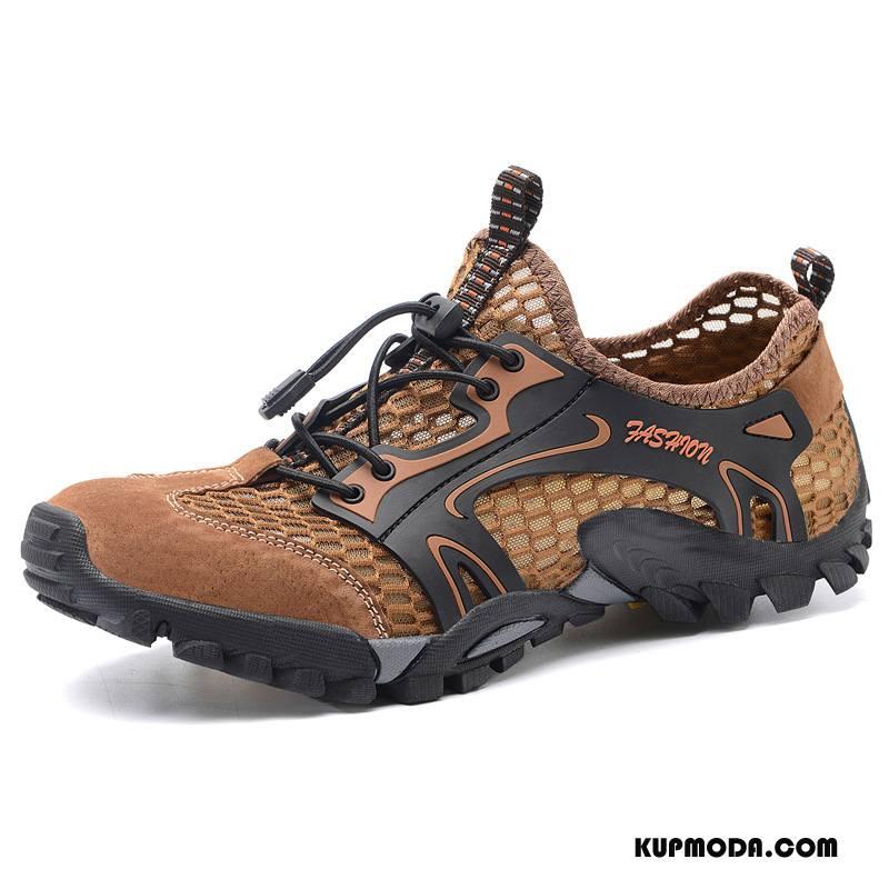 Buty Na Wędrówki Męskie Lato Męska Koronka Slip On Antypoślizgowe Buty Trekkingowe Brązowy