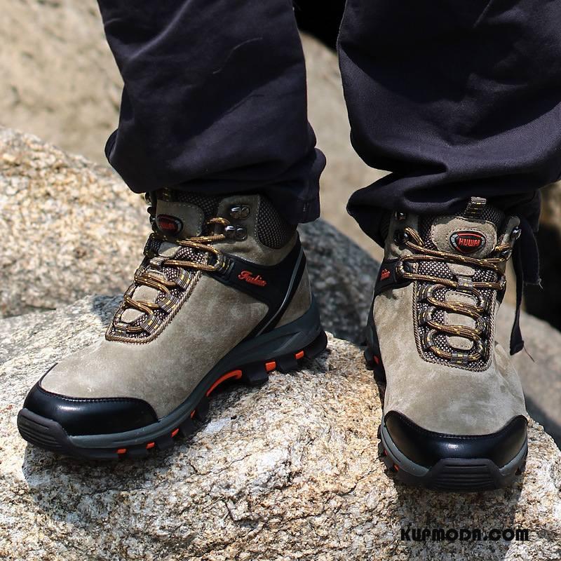 Buty Na Wędrówki Męskie Odporne Na Zużycie Prawdziwa Skóra Wysokie Outdoor Gorąco Wysokiej Jakości Khaki