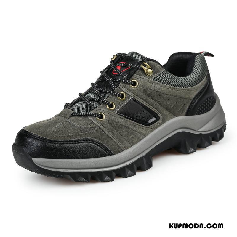 Buty Na Wędrówki Męskie Odporne Na Zużycie Trampki Casual Outdoor Niskie Buty Trekkingowe Szary Ciemno Czerwony