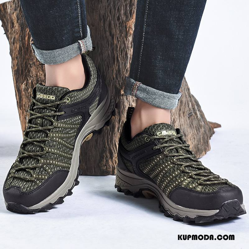 Buty Na Wędrówki Męskie Outdoor Amortyzujące Oddychające Siatkowe Do Chodzenia Odporne Na Zużycie Zielony