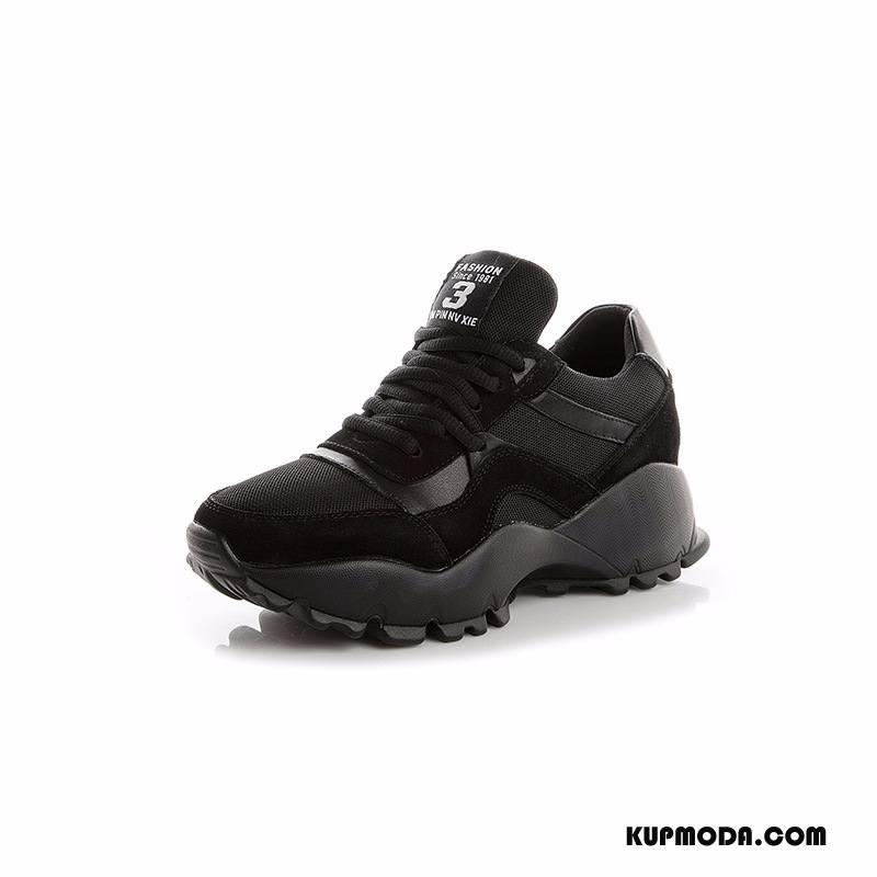Buty Sportowe Damskie Casual Student Prawdziwa Skóra Sznurowane Super Oddychające Czarny