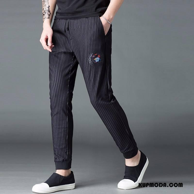 Casualowe Spodnie Męskie 2018 Moda Wysoki Koniec Osobowość W Paski Nowy Czarny