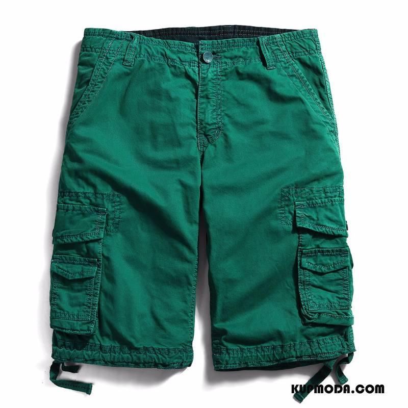 Casualowe Spodnie Męskie Cargo Szorty Zielony