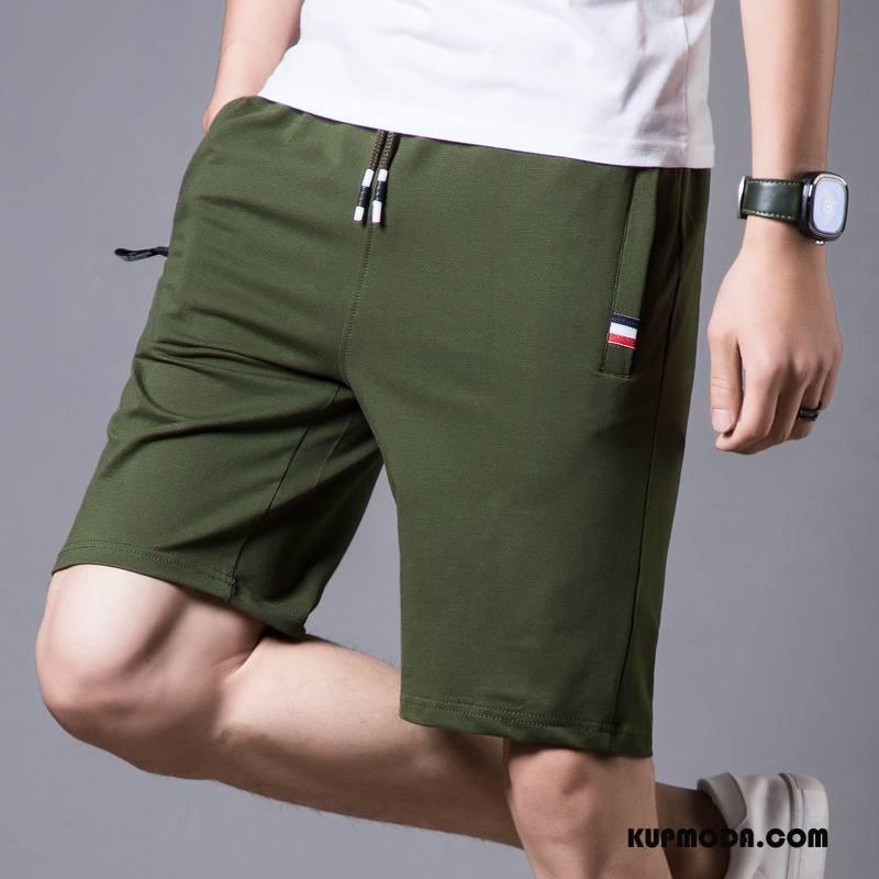 Casualowe Spodnie Męskie Duże Tendencja Cienkie Lato Bieganie Bawełna Zielony