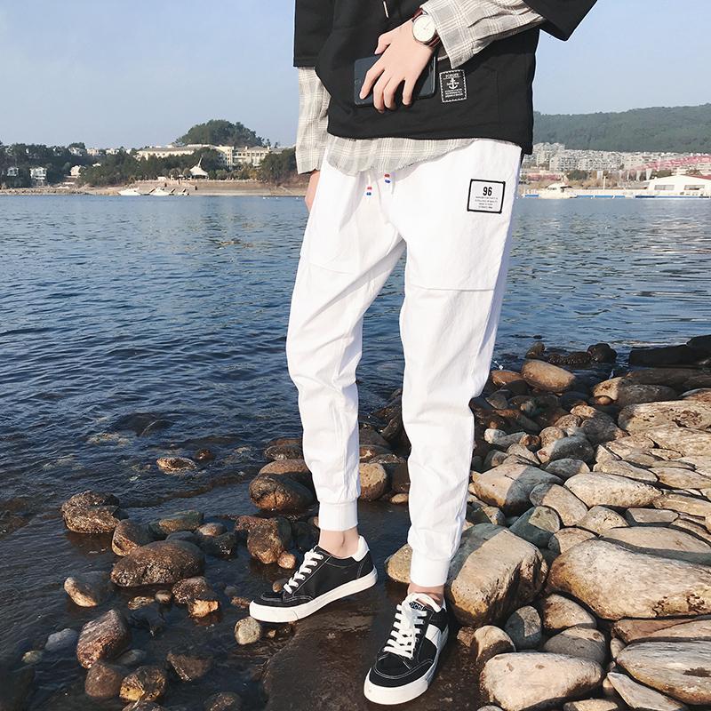 Casualowe Spodnie Męskie Męska Bawełna Nowy Wiosna Biały