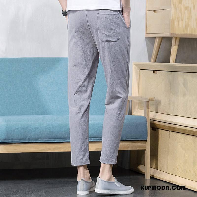 Casualowe Spodnie Męskie Męska Lato Nowy Mały Slim Fit Tendencja Szary Jasny