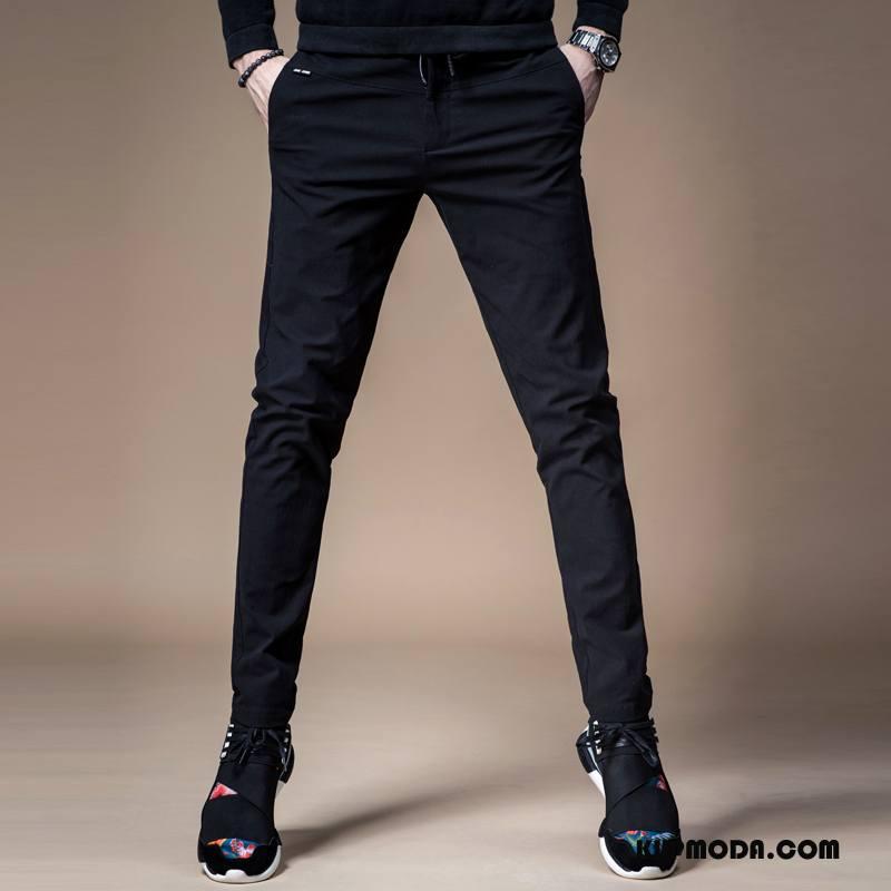 Casualowe Spodnie Męskie Męska Ołówkowe Spodnie Sznurowane Lato Elastyczne Spodnie Dresowe Czarny