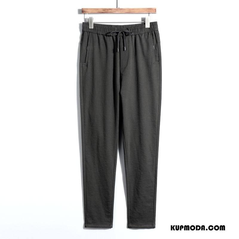Casualowe Spodnie Męskie Moda Nowy Mały Slim Fit Męska Elastyczne Ciemnozielony Czarny